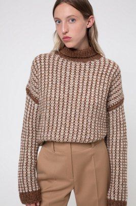 Rollneck sweater with two-tone knitted structure, Brown