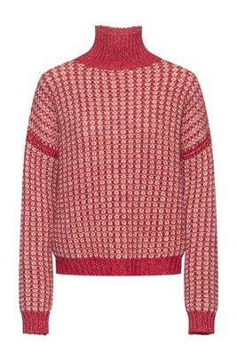 Rollneck sweater with two-tone knitted structure, light pink
