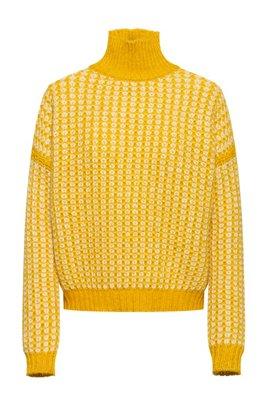 Jersey de cuello vuelto con estructura de punto en dos tonos, amarillo oscuro