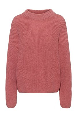 Oversized-fit sweater in alpaca-blend yarn, Dark pink