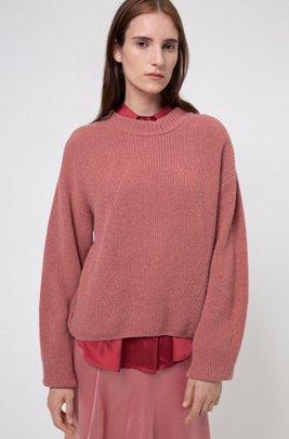 Jersey oversize fit de hilo de mezcla de alpaca, Rosa oscuro