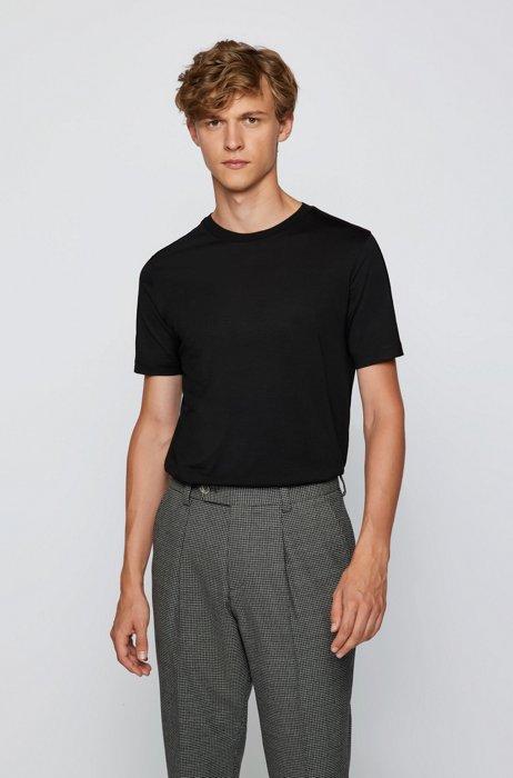 T-shirt à col rond en laine vierge italienne traçable, Noir