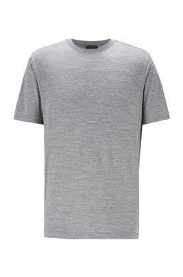 Crew-neck T-shirt in traceable Italian virgin wool, Silver