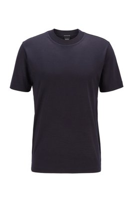 Crew-neck T-shirt in traceable Italian virgin wool, Dark Blue