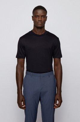 T-shirt à col rond en laine vierge italienne traçable, Bleu foncé