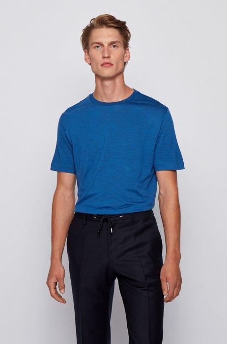 Crew-neck T-shirt in traceable Italian virgin wool, Dark Blue