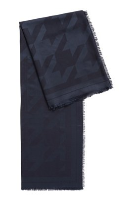 Square scarf in modal and wool with houndstooth pattern, Light Blue
