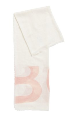 Square scarf in melange fabric with cropped logo, White