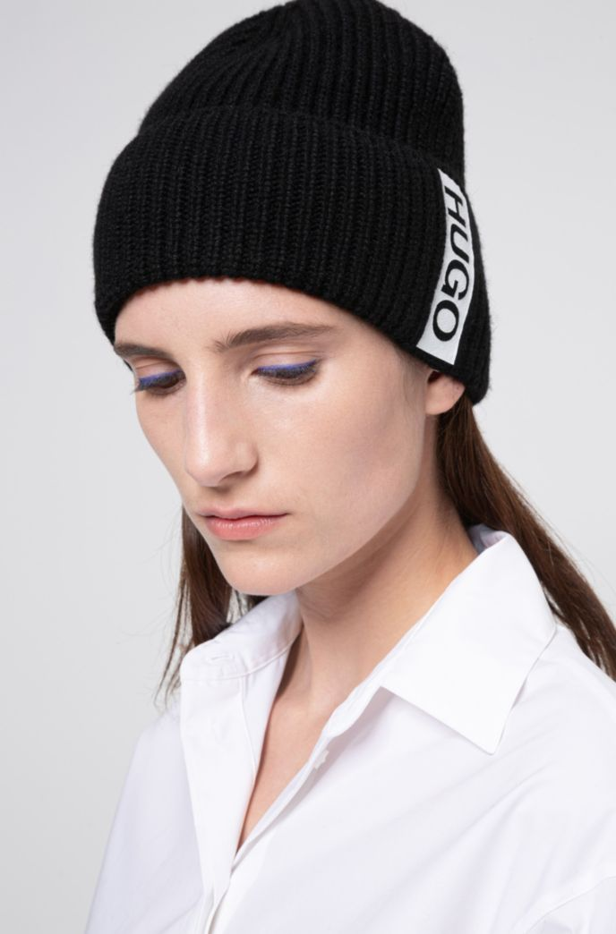 Alpaca-blend beanie hat with contrast logo tape
