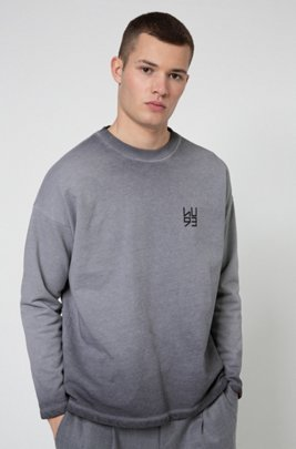 Graphic-print sweatshirt in Recot2® French terry, Silver
