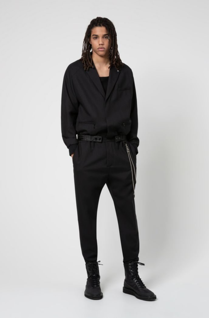 Virgin-wool boiler suit with chain detail