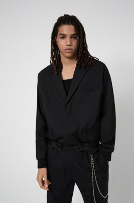 Virgin-wool boiler suit with chain detail, Black