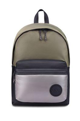 Sac à dos en gabardine de nylon avec badge logo, Noir