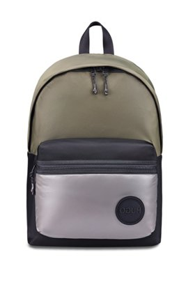 Backpack in nylon gabardine with logo badge, Black