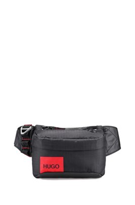 Ripstop-nylon belt bag with contrast logo patch, Black