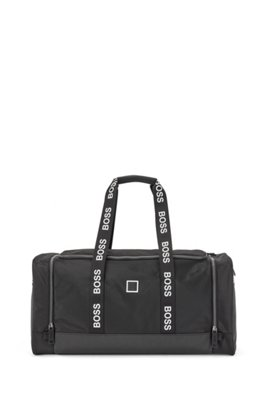 Mixed-material holdall with contrast logos, Black