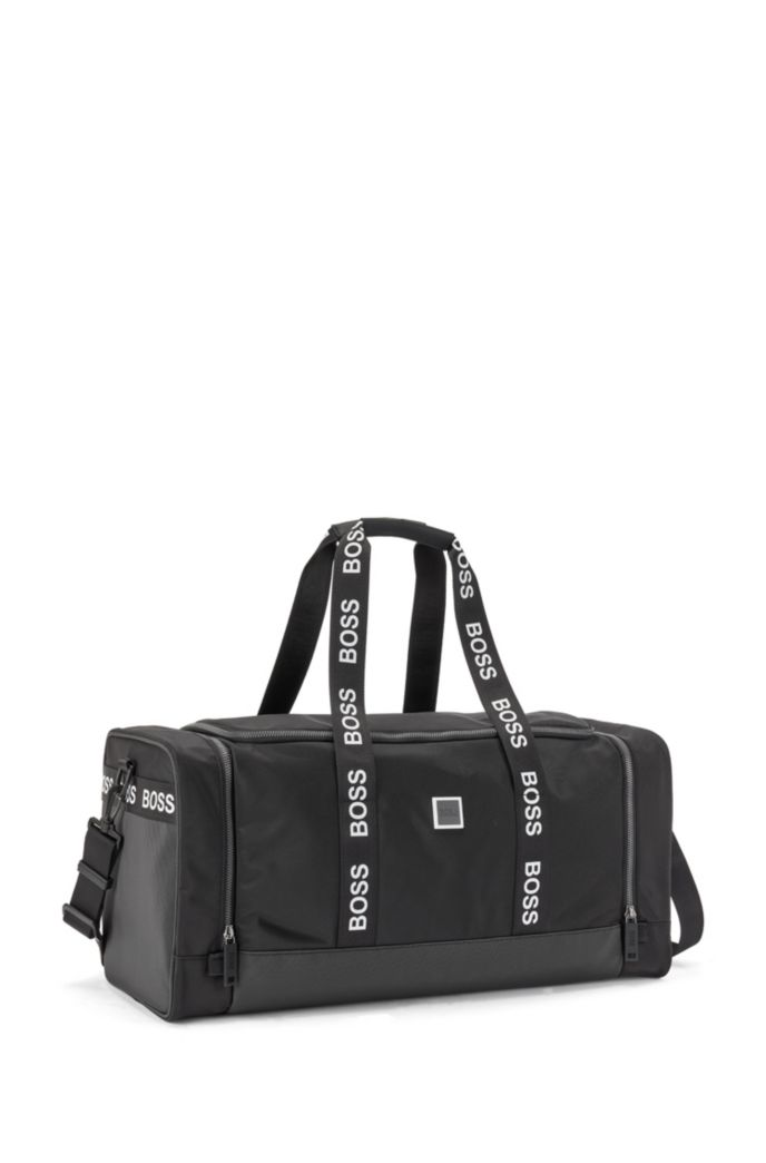 Mixed-material holdall with contrast logos