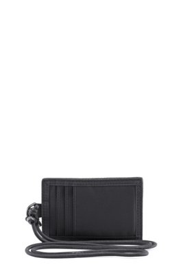 Nylon-twill wallet with detachable neck strap, Black