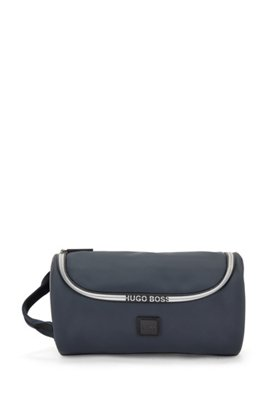 Logo-trimmed washbag in water-resistant faux leather, Dark Blue
