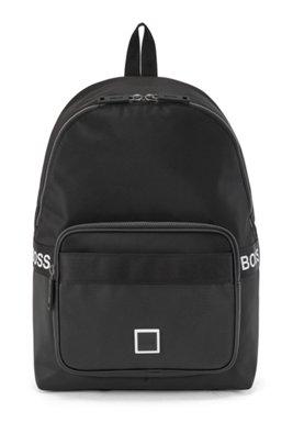 Logo backpack in nylon and embossed faux leather, Black