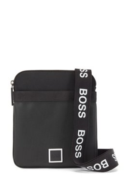 Mixed-material envelope bag with contrast logos, Black
