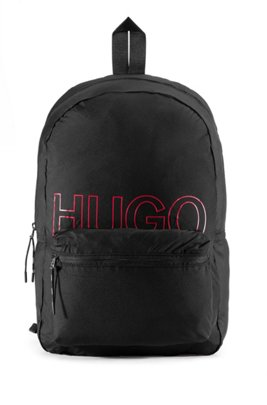 Convertible logo-print backpack in recycled fabric, Black