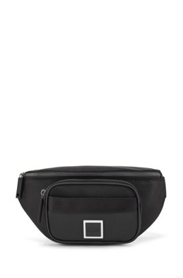 Logo belt bag in nylon and embossed faux leather, Black