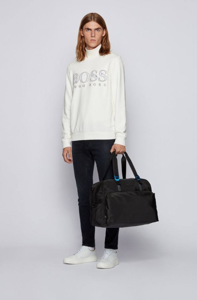 Soft holdall with tonal logos