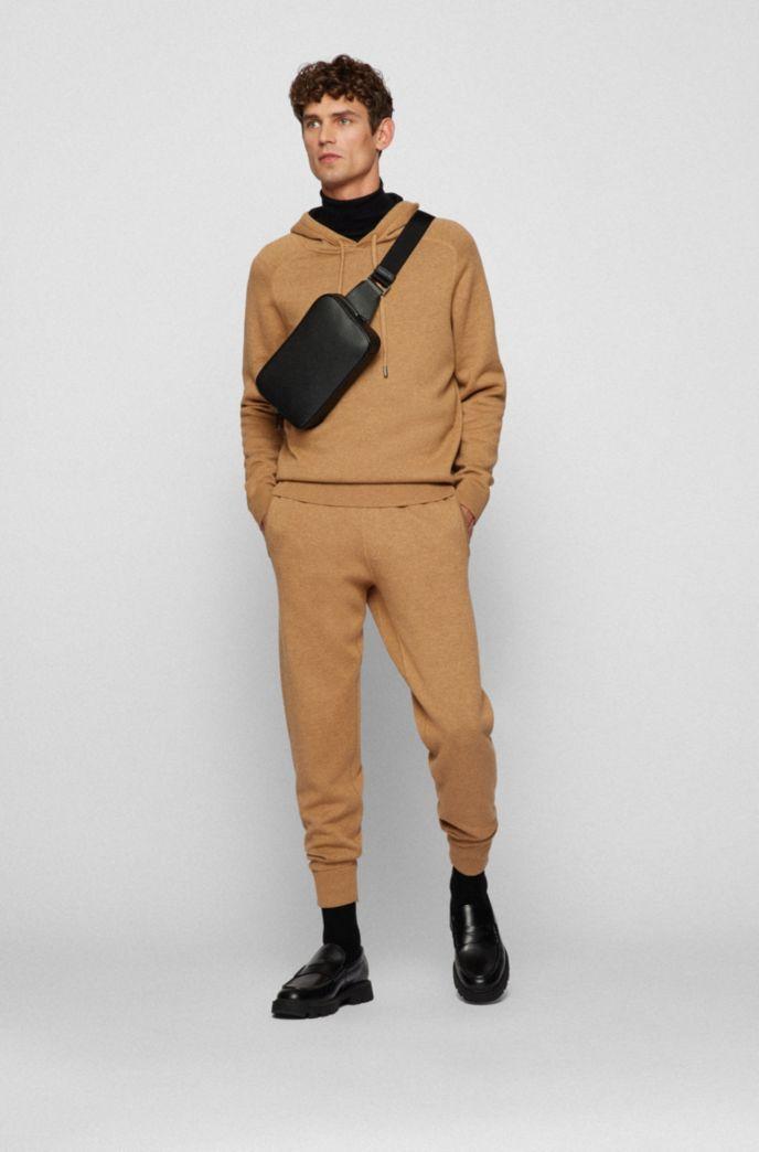 Italian-leather belt bag with blind-embossed logo