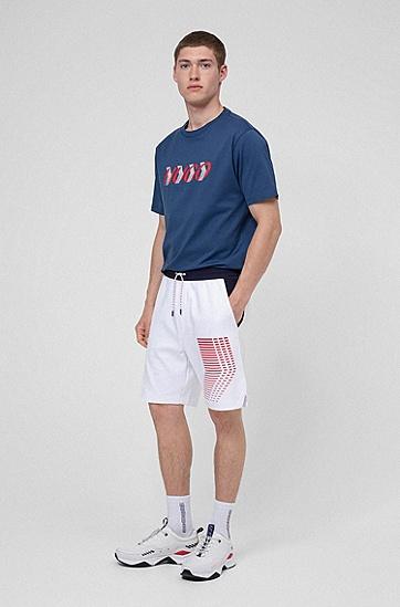 图形印花男女同款棉毛短裤,  100_白色