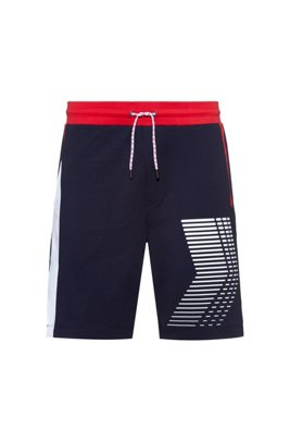 Regular-Fit Unisex-Shorts aus Interlock-Baumwolle mit Grafik-Print, Dunkelblau