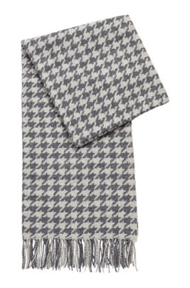 Patterned scarf in jacquard-woven virgin wool, Grey