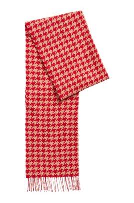 Patterned scarf in jacquard-woven virgin wool, Light Brown