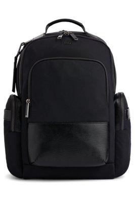 Multi-pocket backpack with monogram address tag, Black