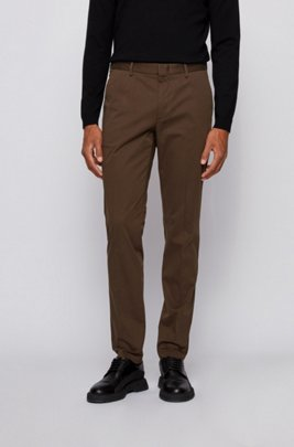 Chino Slim Fit en satin de coton stretch, Chaux