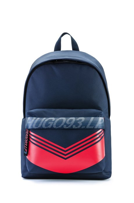 Special-edition unisex nylon backpack with chevron print, Dark Blue