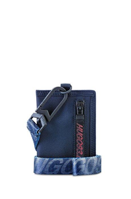 Portatessere in tessuto tecnico con cinturino in rete con logo HUGO '93, Blu scuro