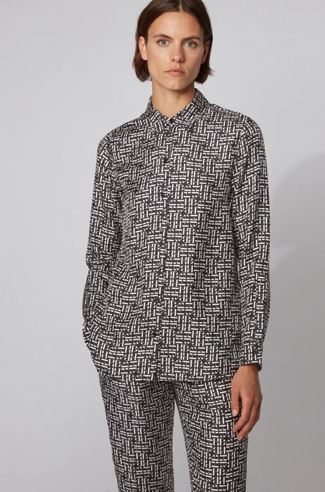 Logo-print blouse in silk twill, Patterned