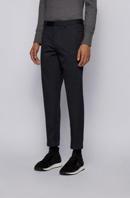 Slim-Fit Hose aus bedrucktem Stretch-Jersey, Schwarz