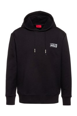 Oversized-fit hooded sweatshirt with new-season artwork, Black