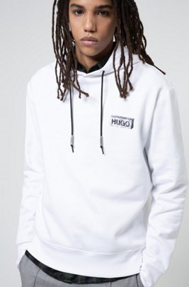 Oversized-fit hooded sweatshirt with new-season artwork, White