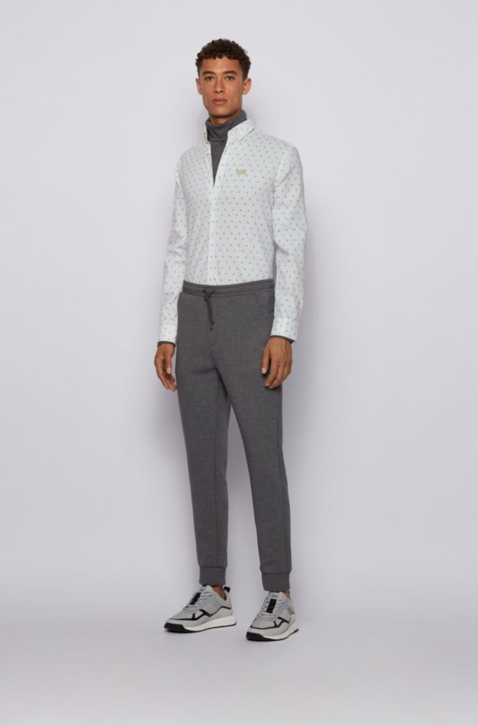 Regular-fit shirt in logo-print cotton twill