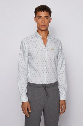 Regular-fit shirt in logo-print cotton twill, Green