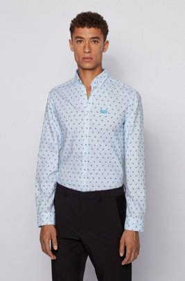 Regular-fit shirt in logo-print cotton twill, Turquoise