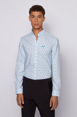 Camisa regular fit en sarga de algodón con logo estampado, Turquesa