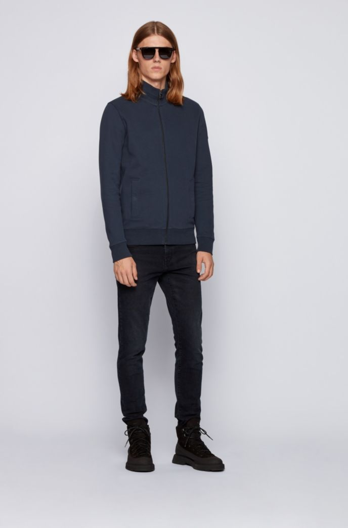 Zip-through jacket in brushed-back French terry