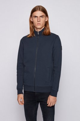 Zip-through jacket in brushed-back French terry, Dark Blue