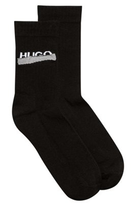 Quarter-length ribbed socks with new-season logo, Black