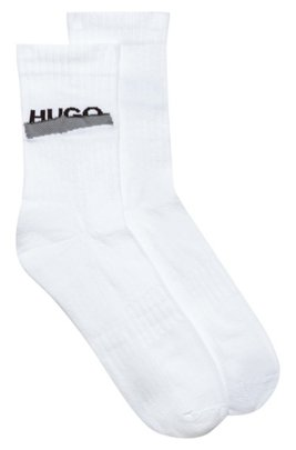 Quarter-length ribbed socks with new-season logo, White