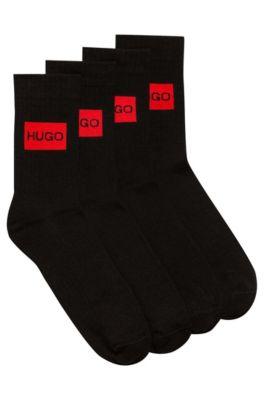 Two-pack of quarter-length socks with logo design, Black